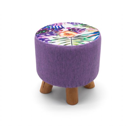 ROUND OTTOMAN FOOTSTOOL FOOTREST POUFFE PADDED CHAIR SEAT STOOL - TROPICAL FLORAL 28 x 28cm